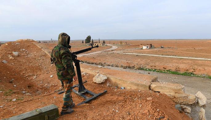Сирийский военнослужащий в провинции Идлиб, 21 января 2018 года