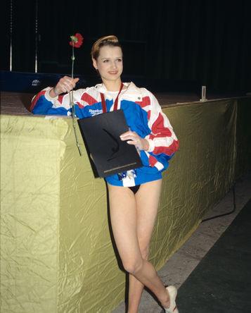 Гимнастка Светлана Хоркина , занявшая первое место на Международном турнире «Звезда-95»