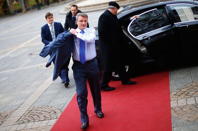 Глава Сбербанка Герман Греф во время банковского конгресса в немецком Франкфурте-на-Майне, 2012 год