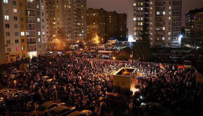 Участница акции протеста в Минске, 1 ноября 2020 года