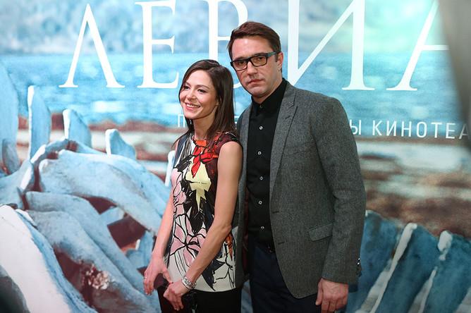 Актеры Елена Лядова и Владимир Вдовиченков на премьере фильма «Левиафан» в кинотеатре «Москва»