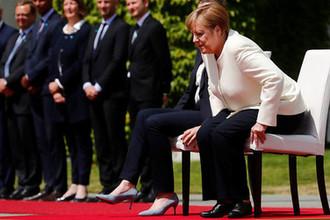 Канцлер ФРГ Ангелы Меркель и премьер-министр Дании Метте Фредериксен во время торжественного мероприятия в Берлине, 11 июля 2019 года