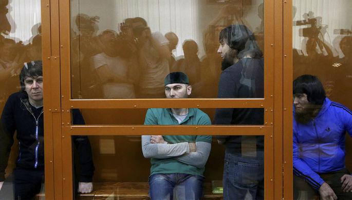 Фигуранты дела об убийства политика Бориса Немцова Темирлан Эскерханов, Шадид Губашев, Заур Дадаев и Анзор Губашев во время заседания суда в Москве, 27 июня 2017 года