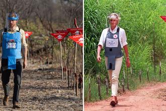 Принц Уэльский Гарри на минном поле в Анголе 27 сентября 2019 года и принцесса Уэльская Диана на том же поле в январе 1997 года