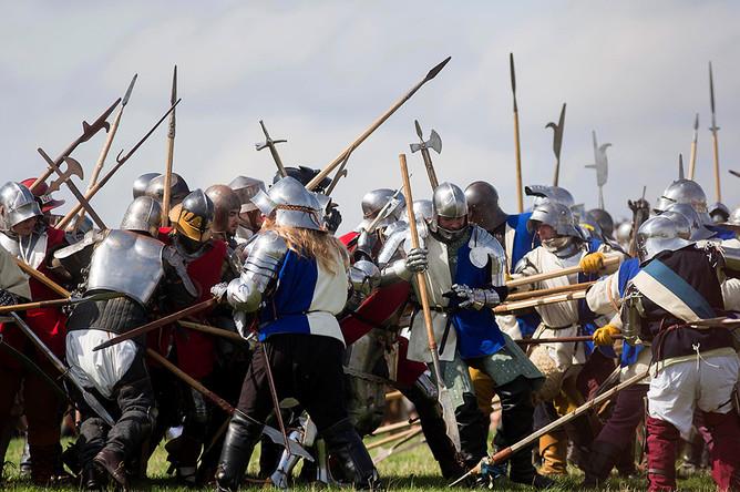 Историческая реконструкция битвы при Босворте в центральной Англии, 22 августа 2015 года