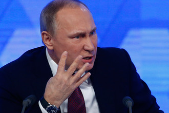 Российский президент Владимир Путин во время пресс-конференции в Москве, декабрь 2016 года