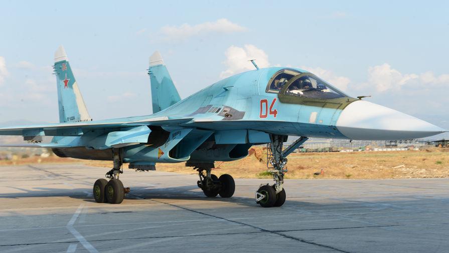 Су-34 завершил учебно-тренировочный полет и отправляется на стоянку