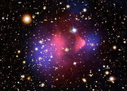 Скопление Пули (Bullet Cluster) было открыто в 2006 году. Свое название объект получил по своей схожестью с изображением ударной волны от летящей пули. Скопление Пули образовалось в результате столкновения двух скоплений галактик. Такое столкновения является одним из наиболее мощных энергетических процессов, которые когда-либо были во Вселенной // chandra.harvard.edu.
