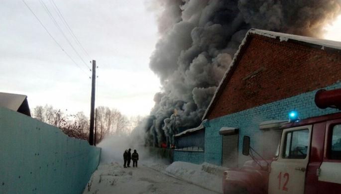 Сотрудники пожарной службы МЧС РФ во время тушения пожара в здании с обувным производством в поселке...