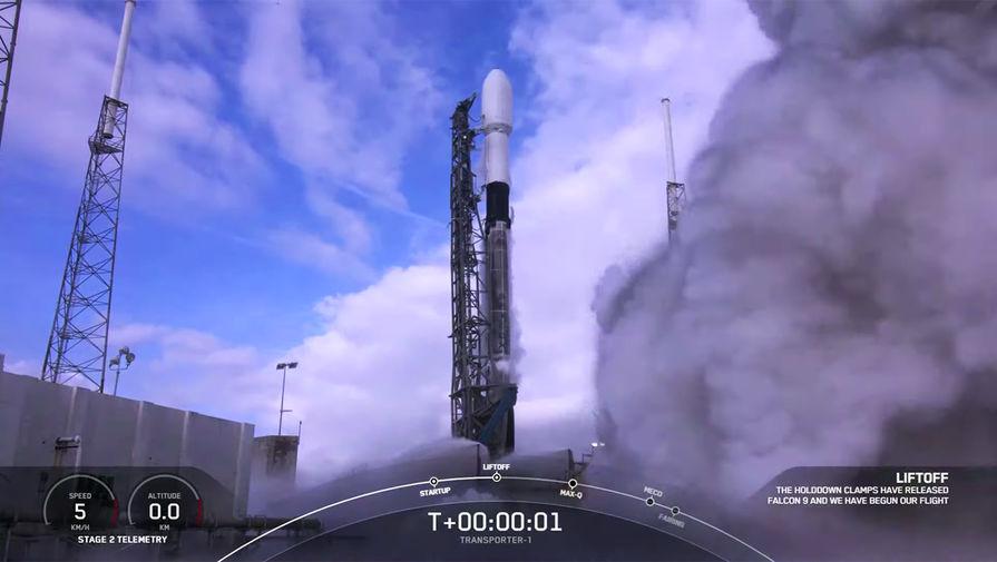 Во время запуска ракеты-носителя Falcon 9, 24 января 2020 года