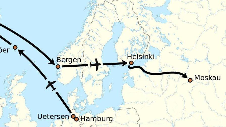 Примерный маршрут Руста из Гамбурга в Москву