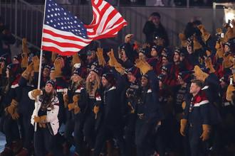 Спортсмены сборной США на церемонии открытия XXIII зимних Олимпийских игр в Пхенчхане, 9 февраля 2018 года
