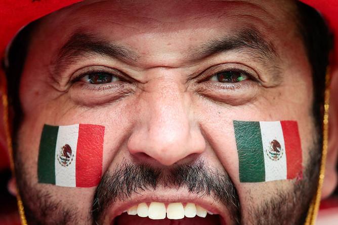 Болельщик сборной Мексики во время матча группового этапа между сборными Германии и Мексики на стадионе Лужники в Москве, 17 июня 2018 года