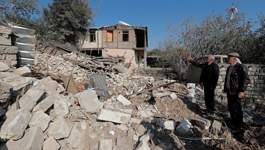 Разрушенные дома в Мартуни, 14 октября 2020 года
