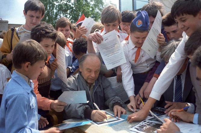 Владимир Шаинский с детьми, 1985 год