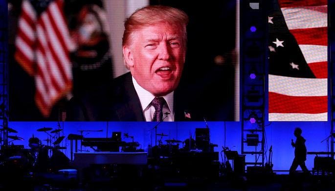 Видеообращение действующего президента США Дональда Трампа во время благотворительного концерта в Техасском университете A&M, 21 октября 2017 года