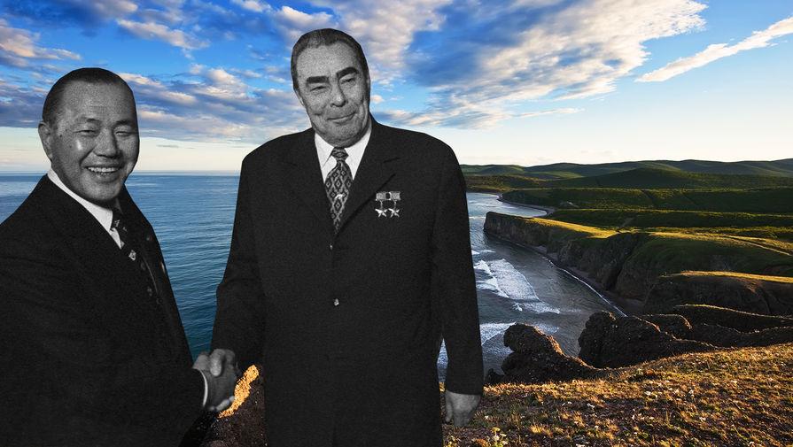 Леонид Брежнев с японским премьер-министром Какуэем Танакой на фоне Курильских островов (коллаж)