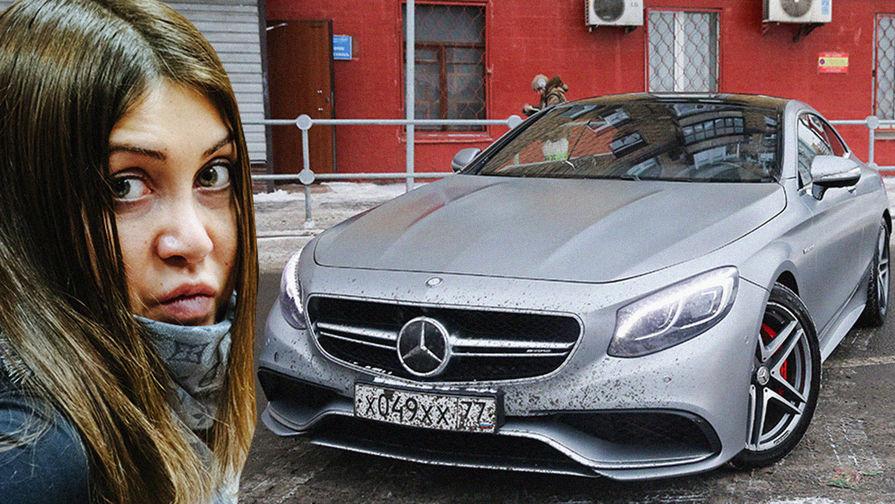 Автомобиль Mercedes-Benz S63 AMG Coupe и Мара Багдасарян во время заседания, коллаж...