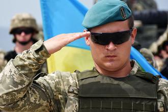 Украинский военнослужащий на открытии международных военных учений «Достойный партнер-2018» под эгидой НАТО в Грузии, август 2018 года