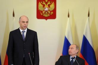 Министр финансов Антон Силуанов и президент Владимир Путин