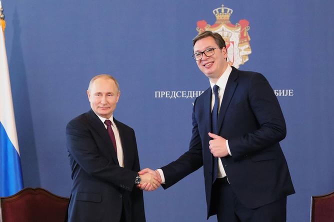 Президент России Владимир Путин и президент Республики Сербии Александр Вучич во время встречи в Белграде, 17 января 2019 года