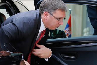 Премьер-министр Сербии Александар Вучич перед участием в Западно-Балканском саммите в Париже, июль 2016 года
