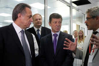 Вице-премьер России по вопросам спорта Виталий Мутко с Григорием Родченковым
