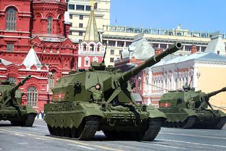 Самоходная артиллерийская установка «Коалиция-СВ» во время генеральной репетиции парада Победы на Красной площади