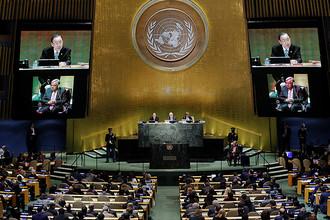 На пресс-конференции в нью-йоркской штаб-квартире ООН, где генсекретарь Пан Ги Мун сообщил о назначении преемника, 13 октября 2016 года