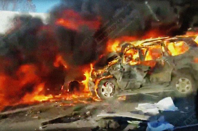 Последствия столкновения трех автомобилей на 166 км автодороги Курск — Борисоглебск в Воронежской области, 15 января 2018 года