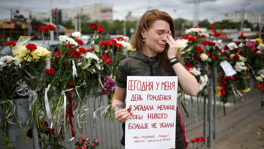 Во время протестов в Минске, 12 августа 2020 года