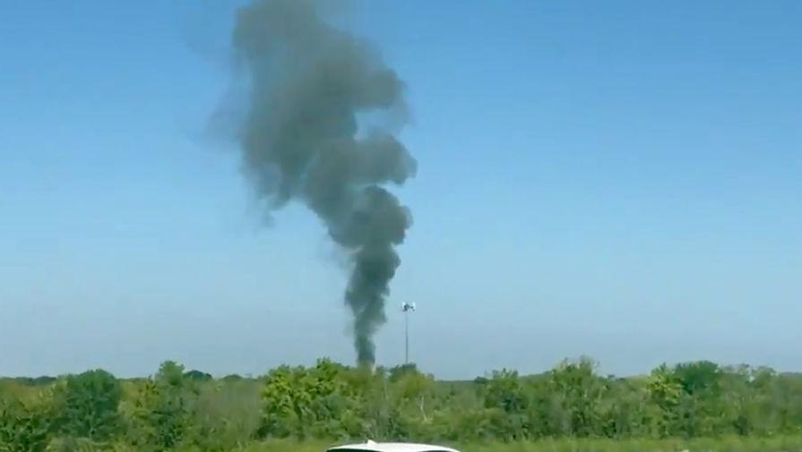 Появилось видео с места крушения военного самолета в Техасе