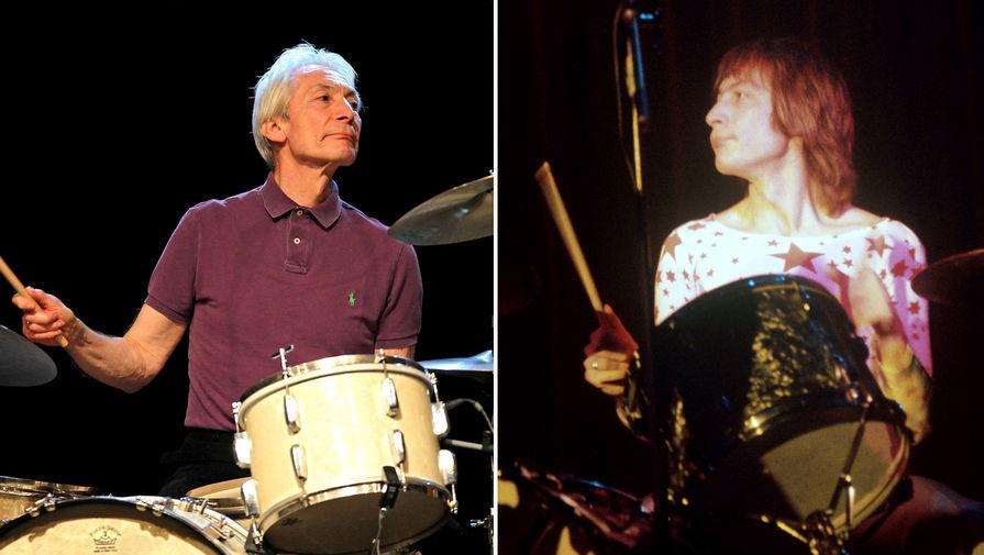 Барабанщик группы «The Rolling Stones» Чарли Уоттс, 2012 и 1970 год