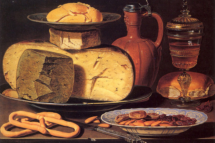 Клара Петерс. «Натюрморт с сыром, миндалем и крендели», 1612-1615