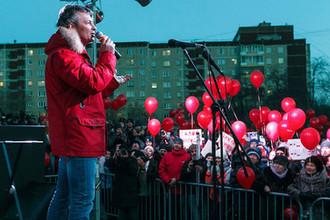 Глава Екатеринбурга Евгений Ройзман во время митинга против отмены прямых мэрских выборов, 2 апреля 2018 года