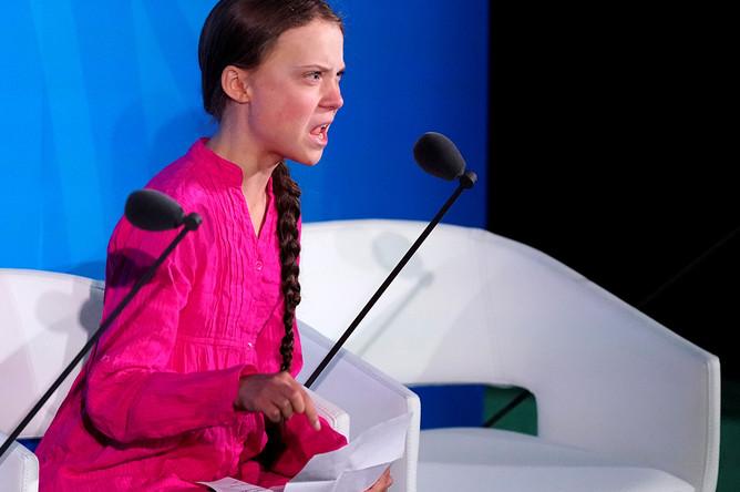 Грета Тунберг во время своей знаменитой речи на саммите ООН в Нью-Йорке, 23 сентября 2019 года