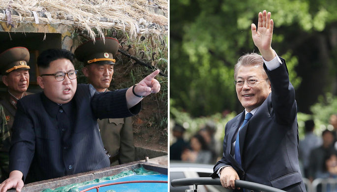 Высший руководитель КНДР Ким Чен Ын и президент Южной Кореи Мун Чжэ Ин, коллаж