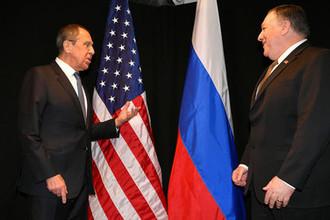 Глава МИД России Сергей Лавров и госсекретарь США Майк Помпео во время встречи в Финляндии, 6 мая 2019 года