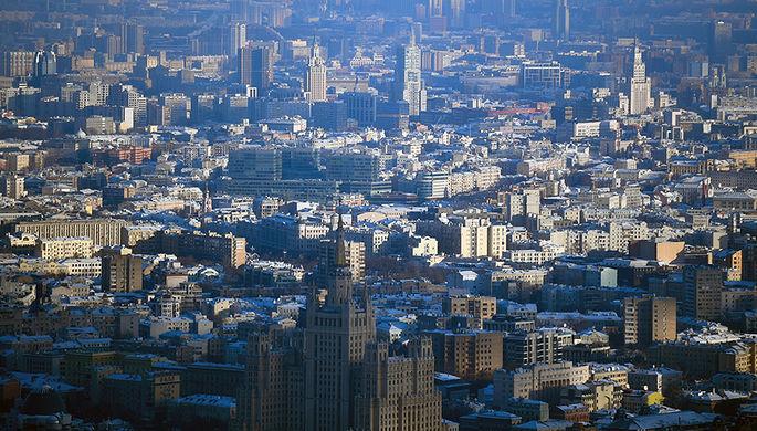 Вид на центр Москвы с крыши башни «Око» в Московском международном деловом центре «Москва-Сити»
