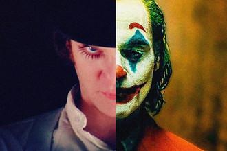 Кадры из фильмов «Заводной апельсин» (1971) и «Джокер» (2019), коллаж «Газеты.Ru»