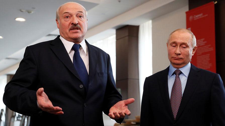 Президент Белоруссии Александр Лукашенко и президент России Владимир Путин во время встречи в Сочи, февраль 2019 года