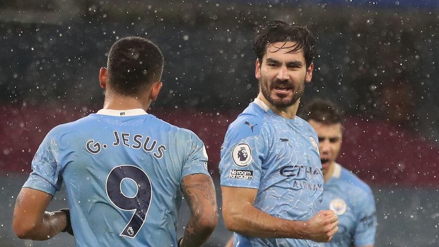 Игроки «Манчестер Сити» Илкай Гюндоган и Габриэль Жезус празднуют гол в ворота «Астон Виллы»