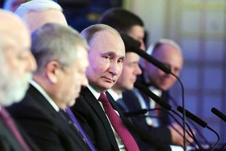 Президент России Владимир Путин во время заседания съезда Российского союза промышленников и предпринимателей (РСПП) в Москве, февраль 2018 года