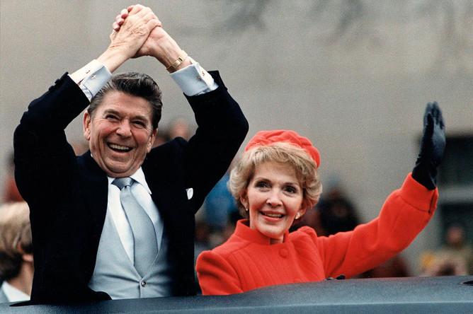 Рейганы по дороге в Белый дом после инаугурации, 1981 год