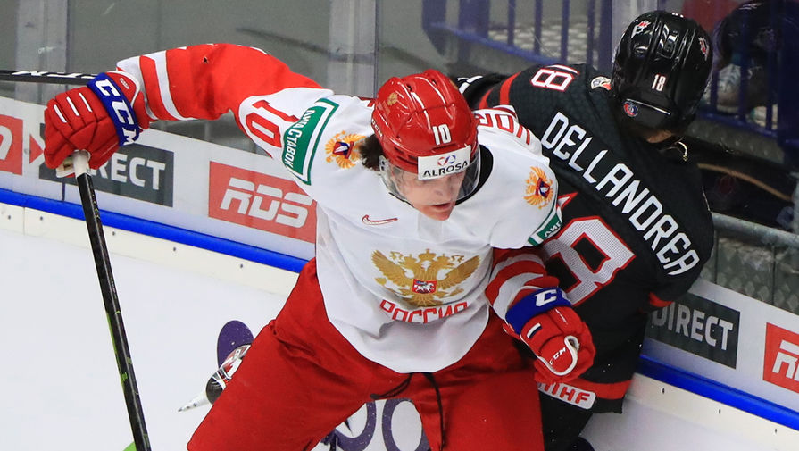 Во время финального матча молодежного чемпионата мира по хоккею между сборными командами Канады и России, 5 января 2020 года