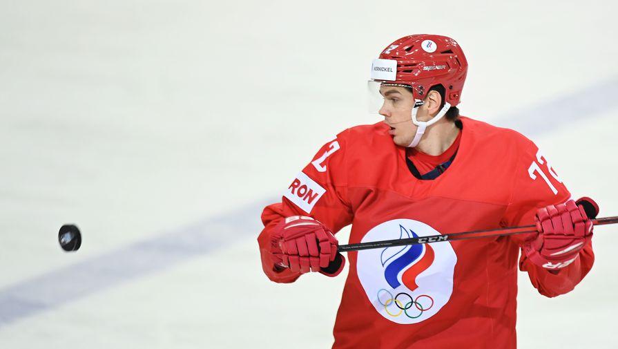 Эмиль Галимов (Россия) в матче чемпионата мира по хоккею — 2021