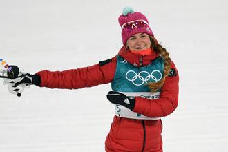 Российская спортсменка Юлия Белорукова после финиша спринта среди женщин на Олимпиаде в Пхенчхане, 13 февраля 2018 года