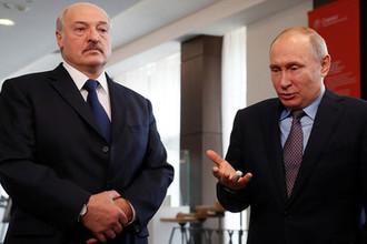 Президент Белоруссии Александр Лукашенко и президент России Владимир Путин во время встречи в Сочи, 15 февраля 2019 года