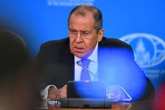 Министр иностранных дел РФ Сергей Лавров на пресс-конференции в Москве, 16 января 2019 года