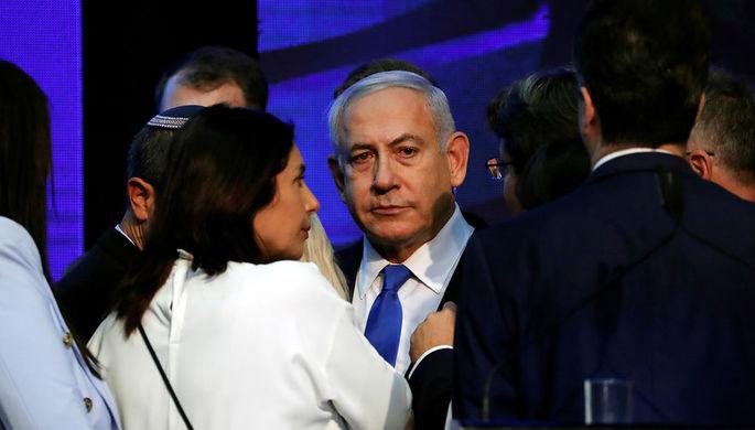 Премьер-министр Израиля Биньямин Нетаньяху в штаб-квартире партии «Ликуд» в Тель-Авиве после объявления результатов выборов в парламент, 18 сентября 2019 года